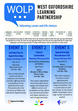 Careers and apprenticeships wolp events flyer