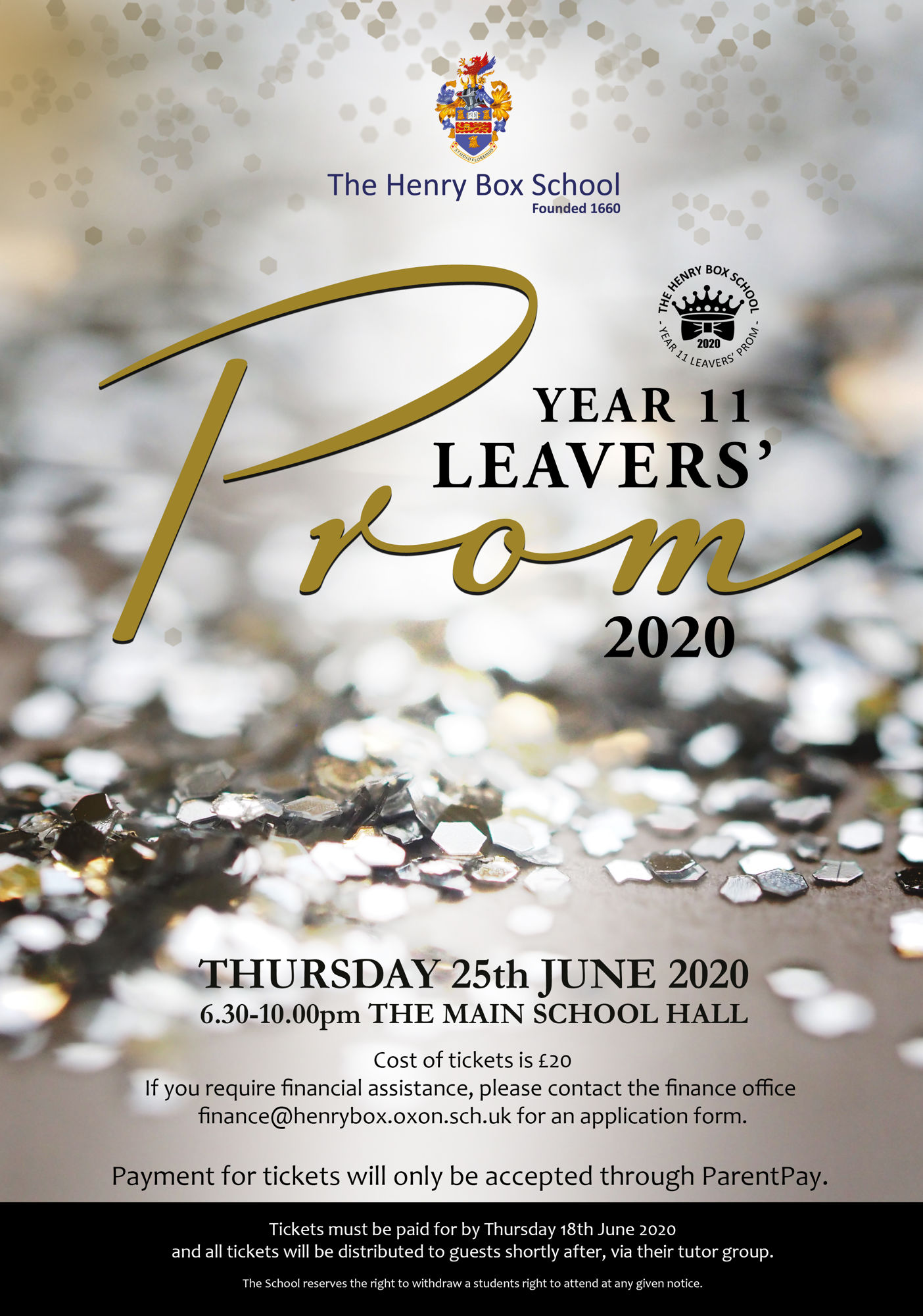 Year 11 Leavers' Prom Poster 2020
