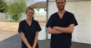 Year 13 students working as healthcare assistants with the Covid-19 swabbing team