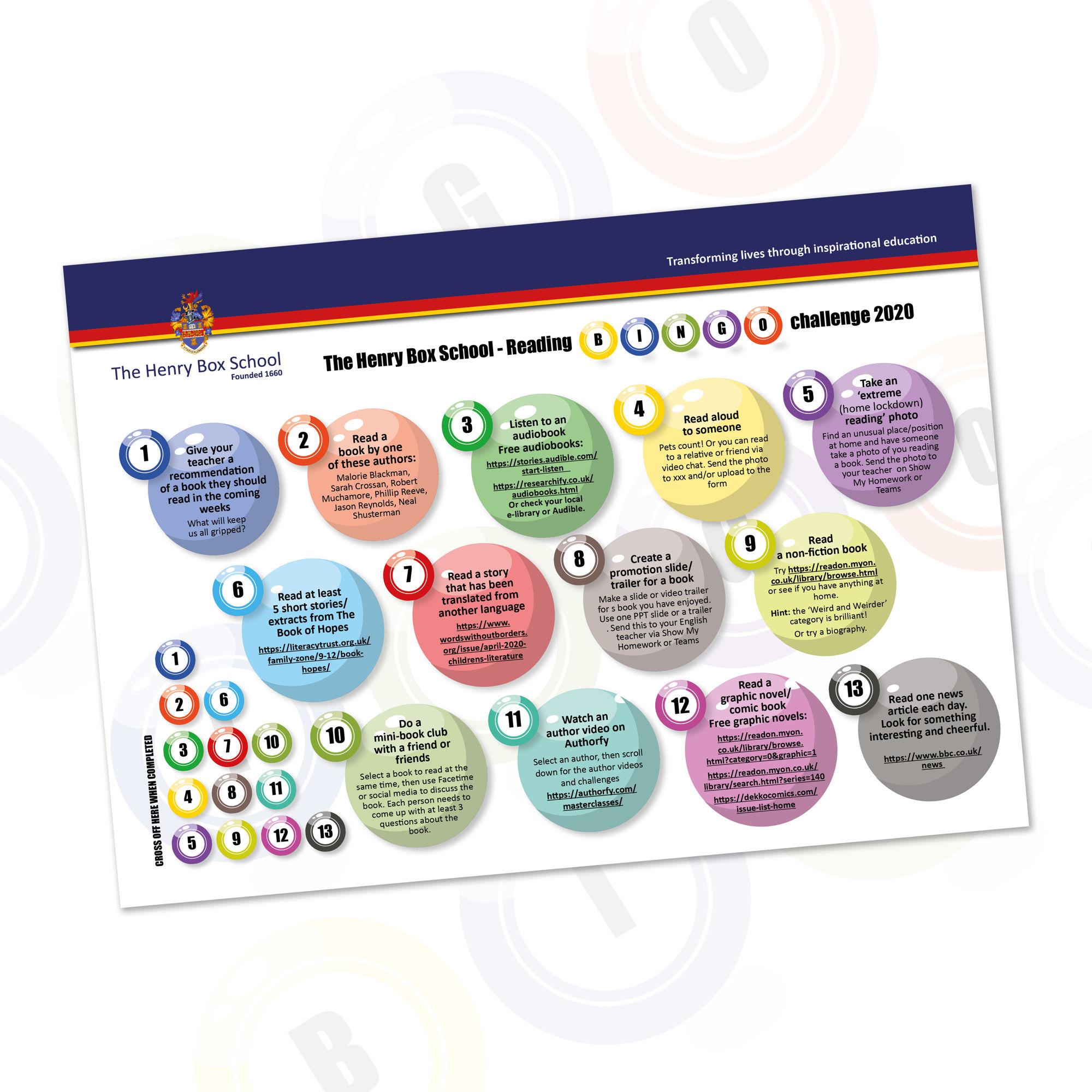 English bingo challenge