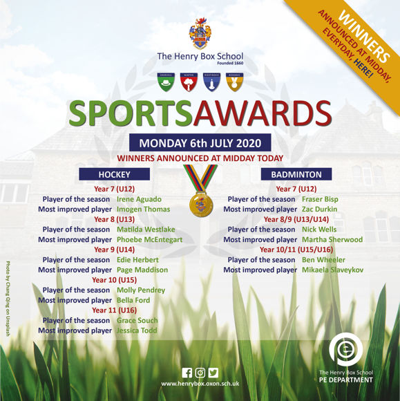 Virtual Sports awards Results for media Mon 6th 9am