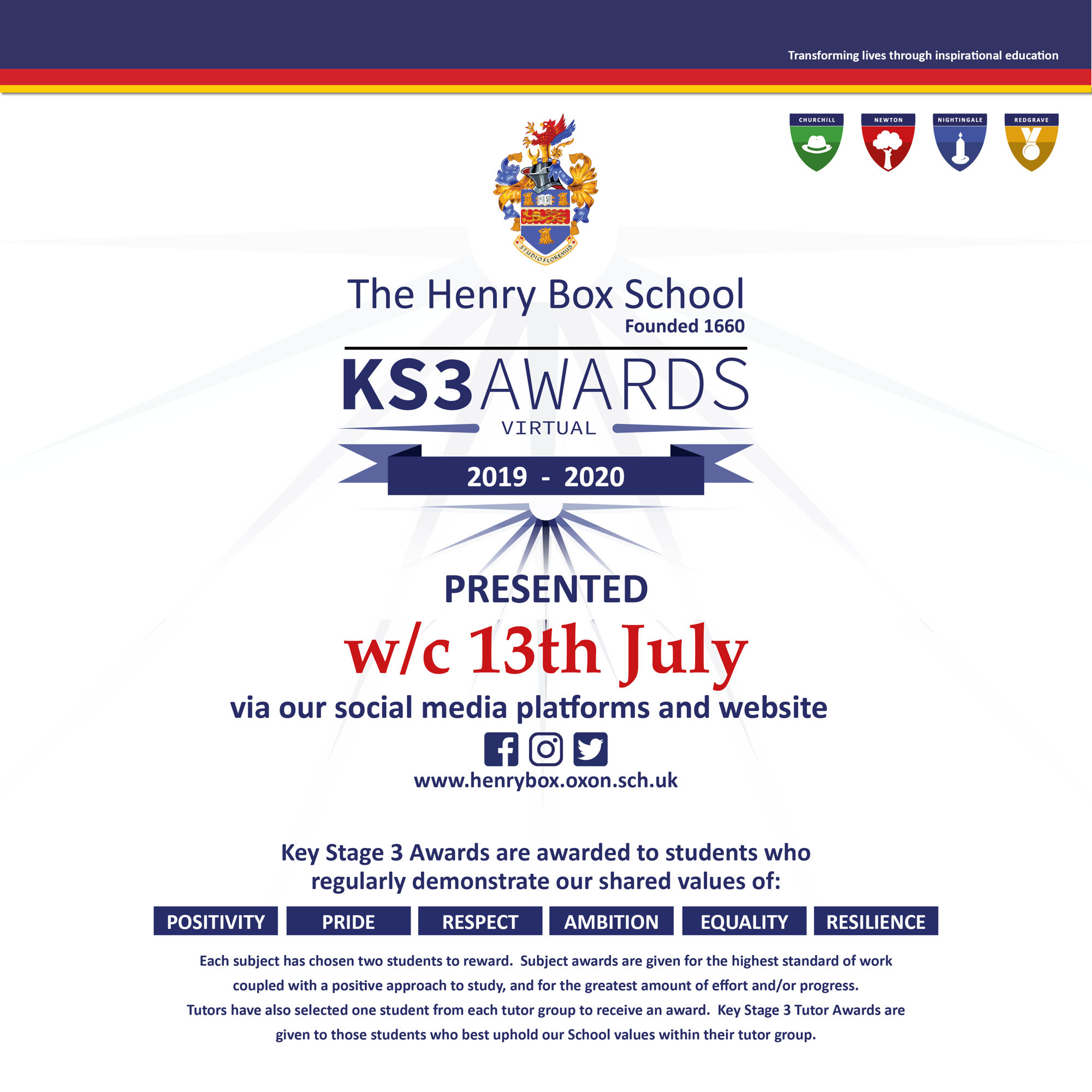 KS3 awards poster 2020