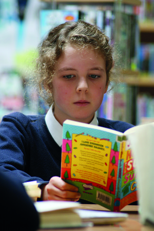 Reading student in Library