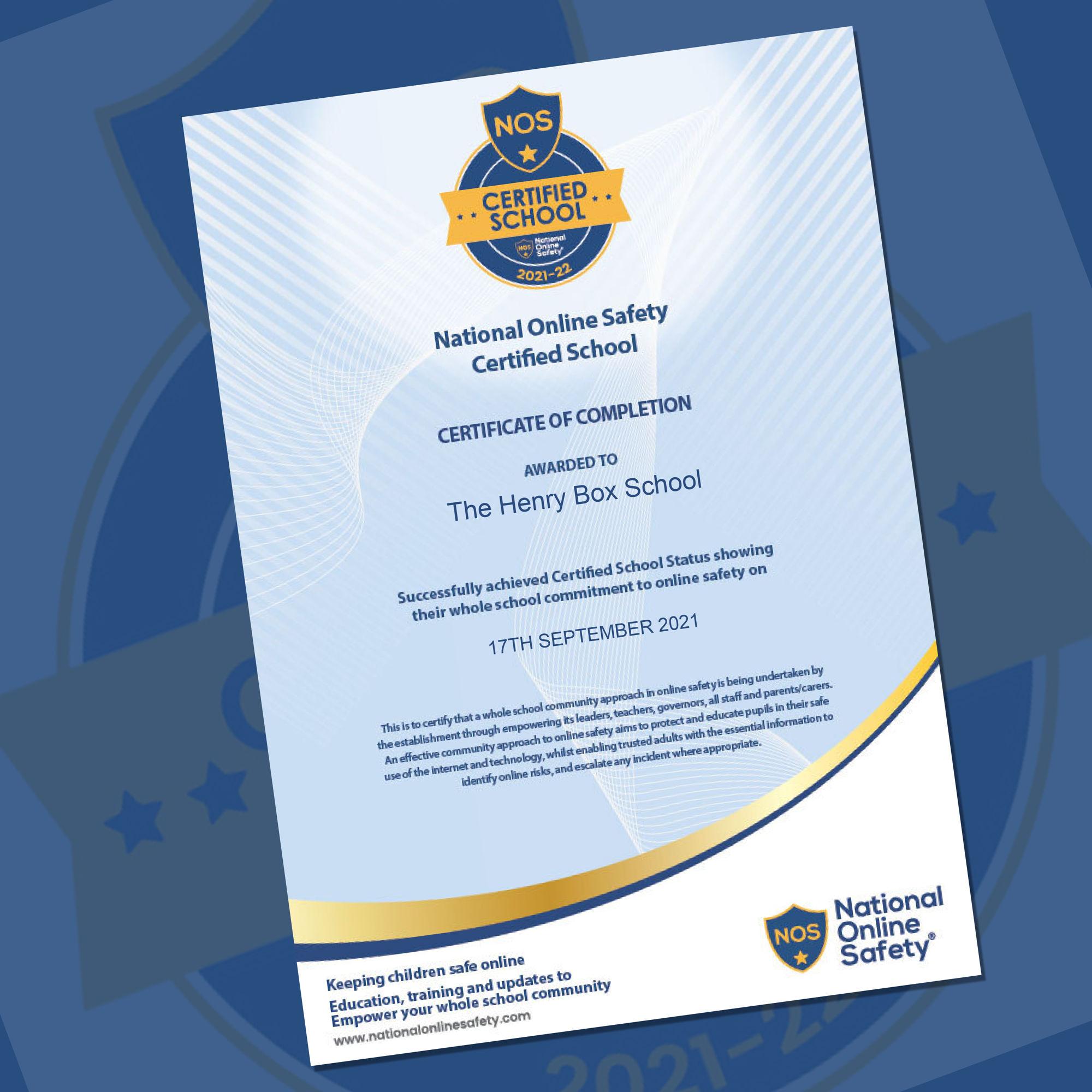 NOS   Certified Achool 2021 22 certoficate montage