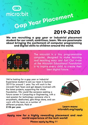 Careers microbit gap year 2019